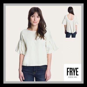 Frye Flutter Sleeve Woven Top Natural